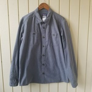 Patagonia Grey Striped Casual Button Down Large